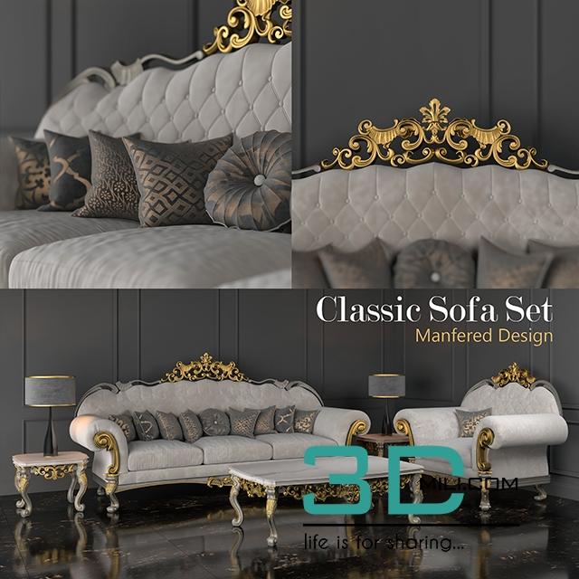 95 Classic Sofa Set 3d Mili Download 3d Model Free 3d Models