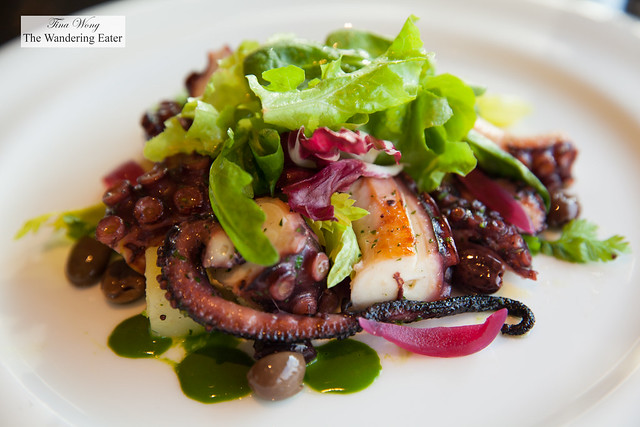 Grilled octopus, Taggiasca black olives, potato and .red onion from Tropea
