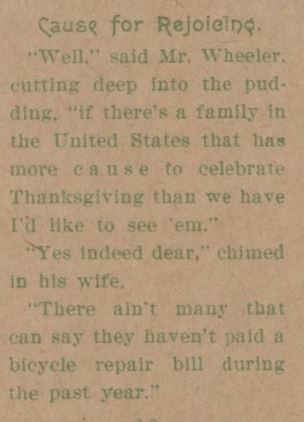 1897 Thanksgiving-Bicycle Comment