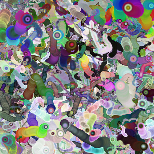 JS_Generative Art_SS_(2017_11_21)_1_cropped_1 HTML5のCanvas要素で描画されたジェネレーティヴ アートの画像。 色とりどりのグラデーションが掛かった多重円が多数画面中をランダムに動いた軌跡が描かれている。