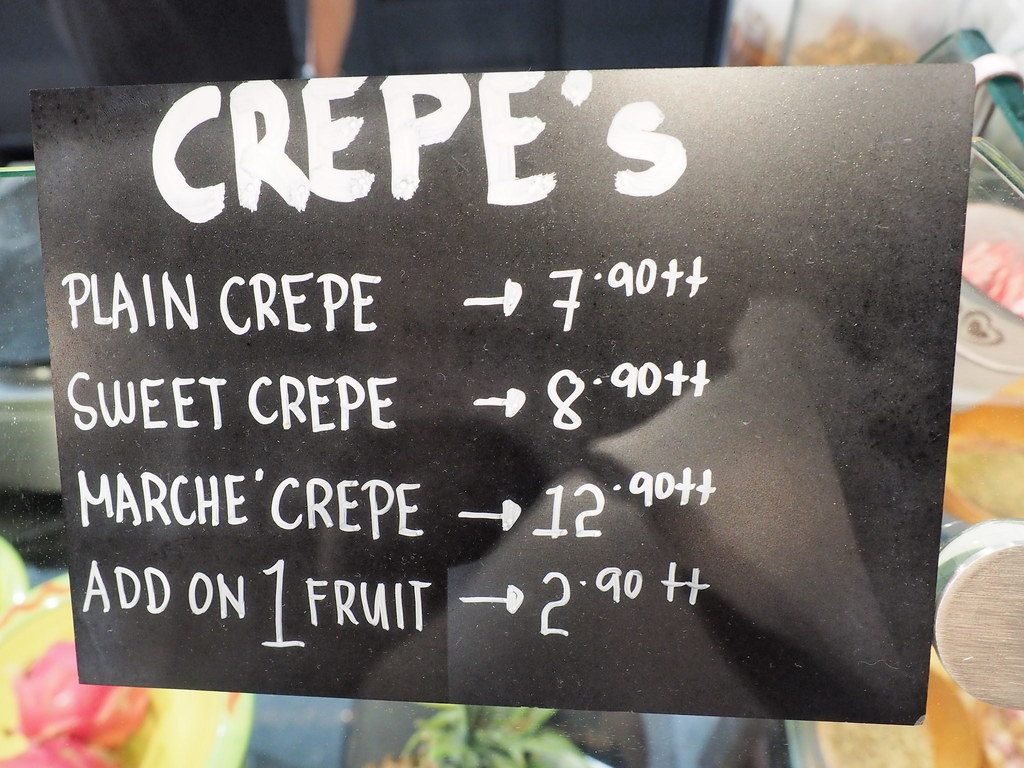 Crepes menu at Marché Mövenpick Pavilion