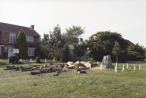 Croxley War Memorial on The GreenTree cut down 1992