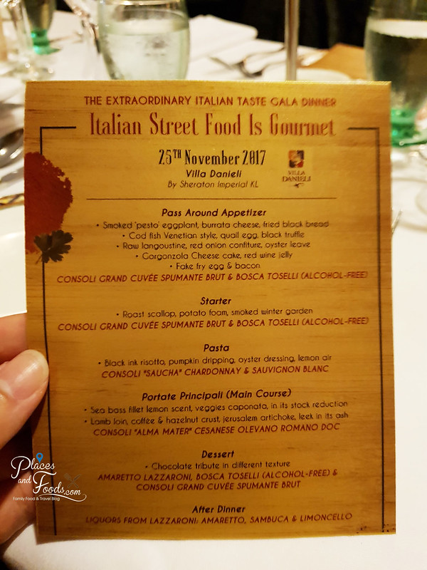 The Extraordinary Italian Taste 2017 menu