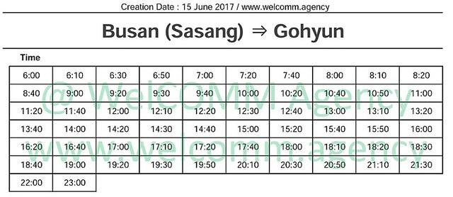 Busan Geoje Timetable
