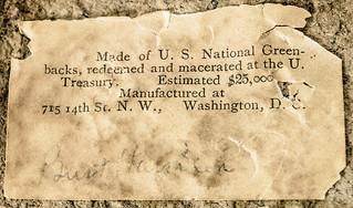 Macerated currncy Benjamin Harrison bust label