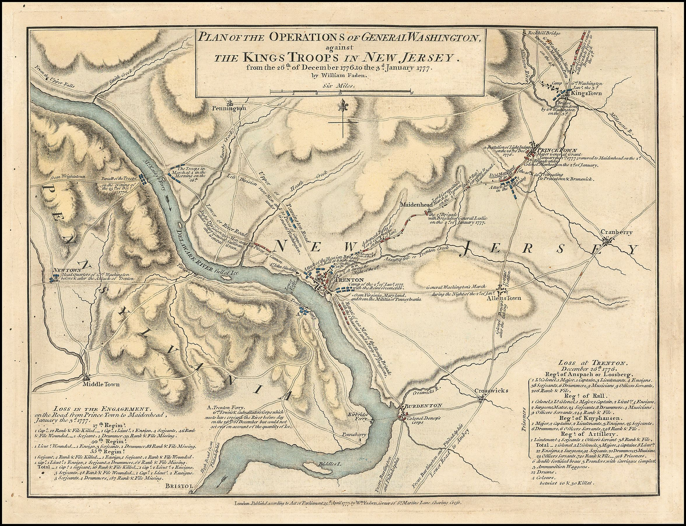 Map by William Faden, depicting Washington's crossing on the Delaware River. Manuscript, pen-and-ink and watercolor (1777)