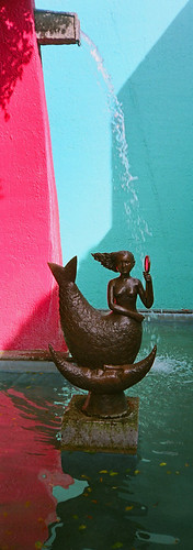 Sculpture of a mermaid by the artist Bustamente in his gallery in Tlaquepaque, Mexico