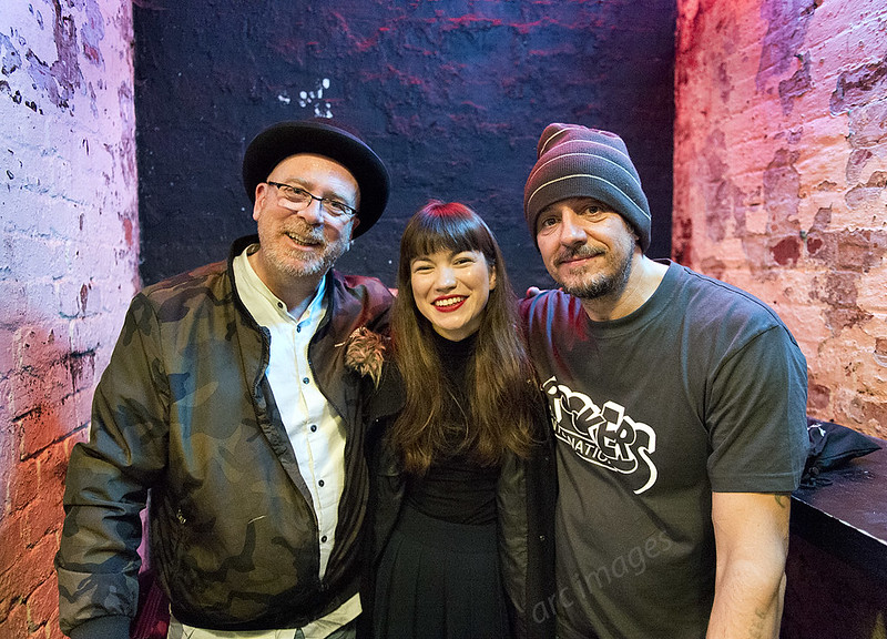 Lost Horizons, Soup Kitchen, Manchester, 21-11-17. Simon Raymonde, Helen Ganya Brown and Richie Thomas pose after the show.