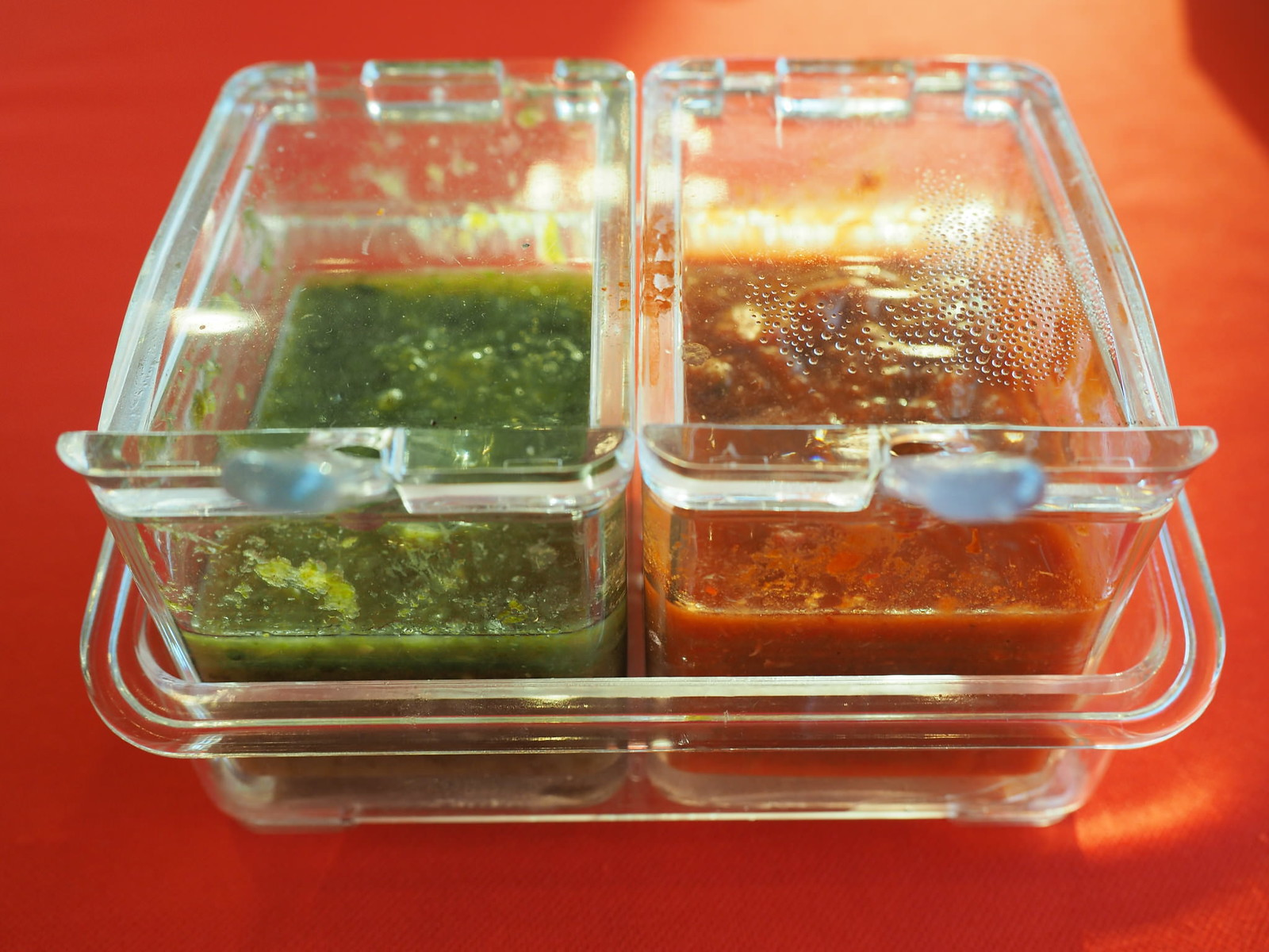 Two types of chili sauces for the steamboat