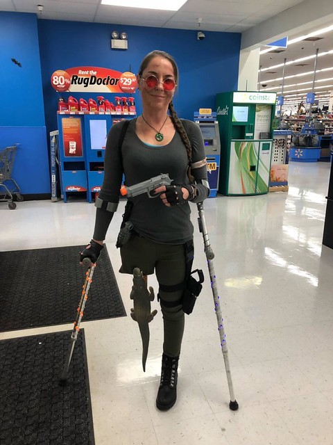 A little late but my wife dressed up as Lara Croft for Halloween. She's an amputee so she improvised via /r/funny http://bit.ly/2zXH0Nr