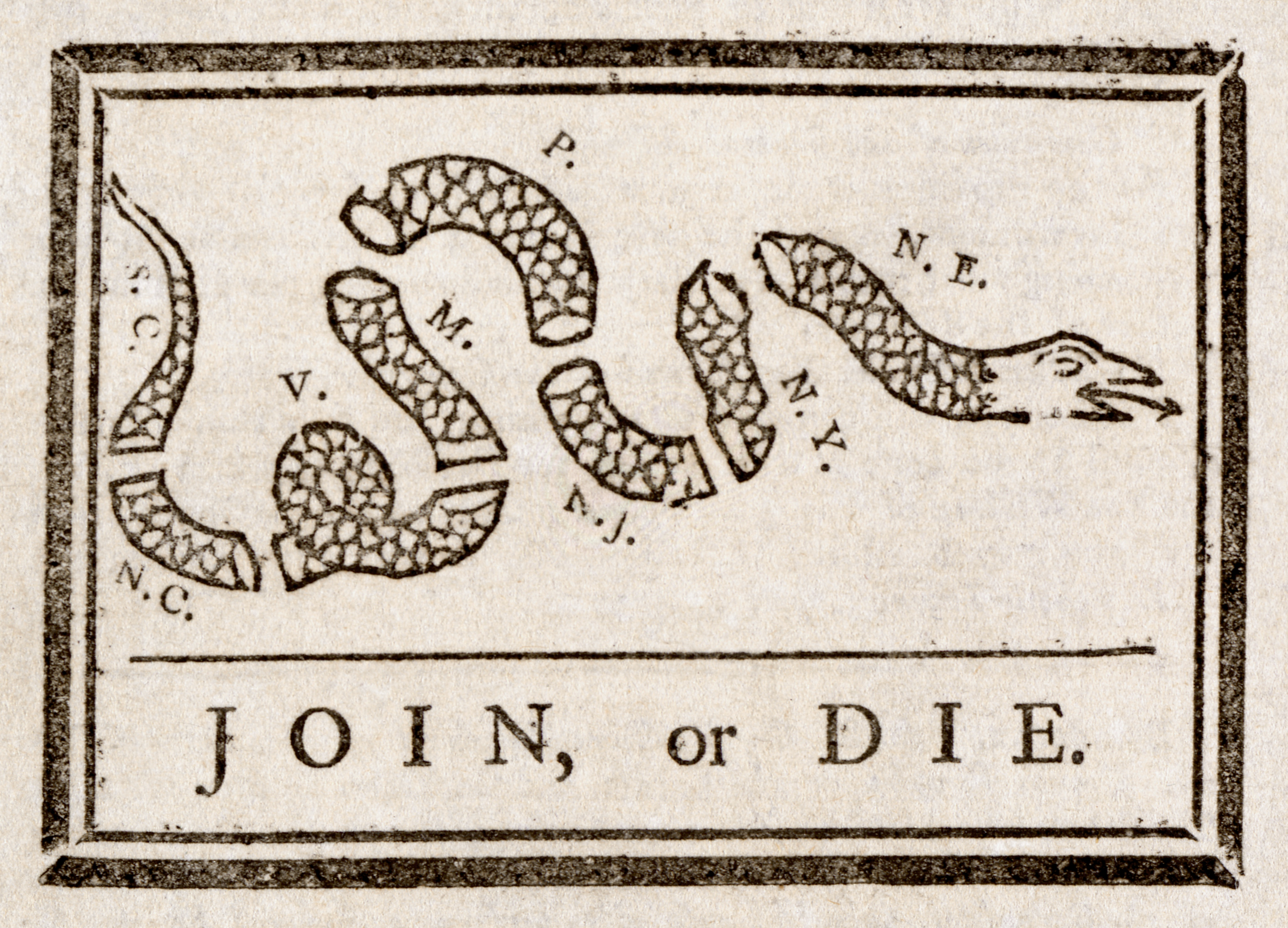 Join, or Die: This 1756 political cartoon by Benjamin Franklin urged the colonies to join together during the French and Indian War.