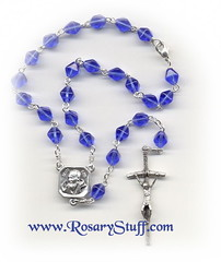 Sapphire Blue Bicone Glass Car Rosary