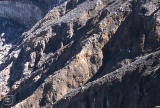 Gully erosion of lava. Poas volcano
