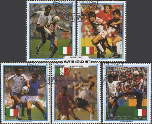 Známky Paraguaj 1989 MS vo fubale 1990, razítkovaná séria
