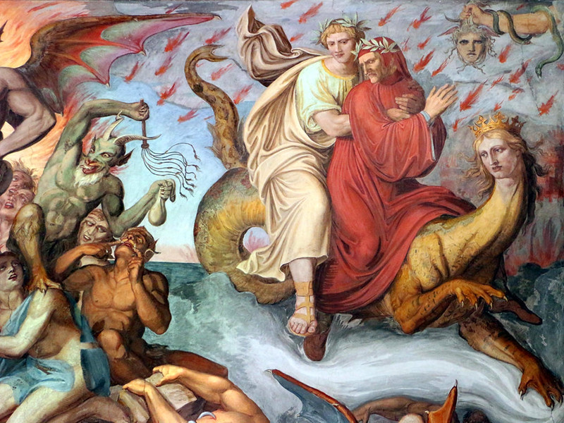 Dante's Inferno depicted in wall frescos by Joseph Anton Koch. Credit Sailko
