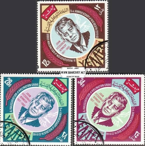 Známky Jemen kráľovstvo 1967 President Kennedy razítk. séria