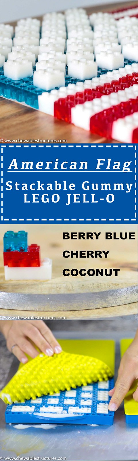 American Flag made of gummy LEGO JELLO candy.