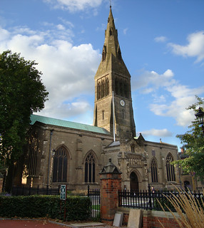 Merged photo from two images of Leicester cathedral