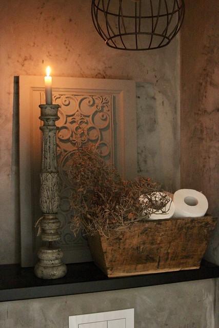 Toilet houten bak wc rollen kandelaar