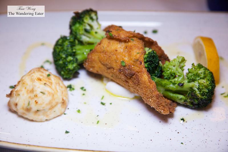 Cannolo di pesce - pesce del giorno con verdure in agrodolce e ricotta dei Monte Iblei