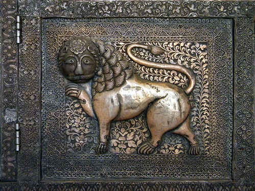 A Lion on a Brass Door in Jodhpur Fort, India