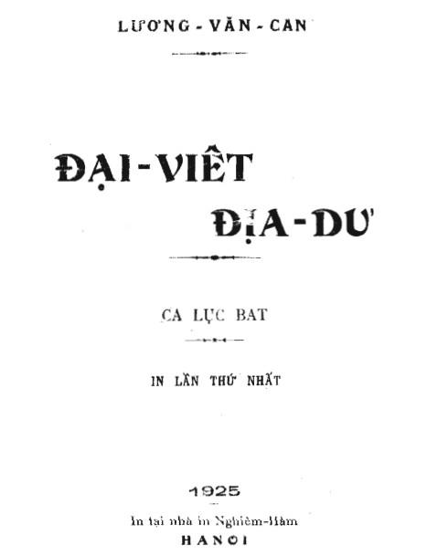 Đại Việt Địa Dư - Lương Văn Can