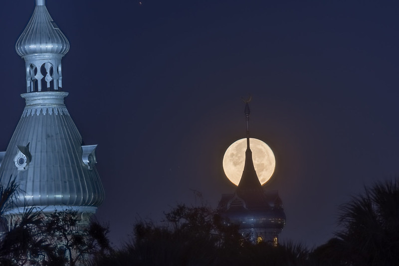 Supermoon over University of Tampa