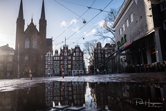 Spui & Singel (Amsterdam) w/ puddle reflections