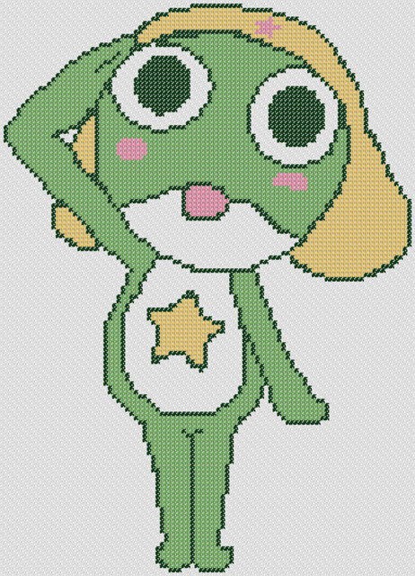 Preview of Keroro Gunso's Sgt Frog: free anime cross stitch to print