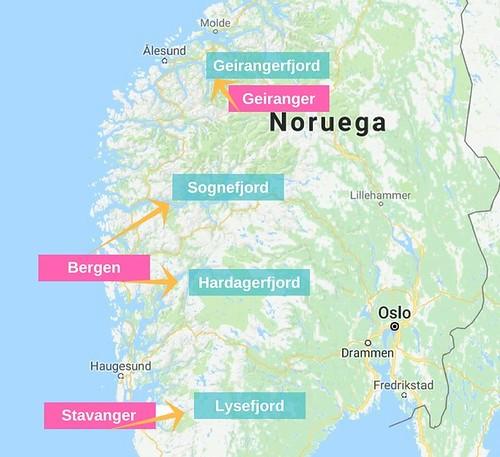 Mapa de las ciudades para visitar los Fiordos Noruegos