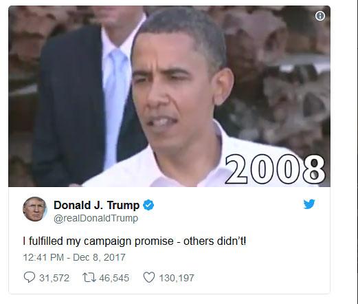 Cuitan Donal Trump mengenai pemenuhan janji kampanyenya.