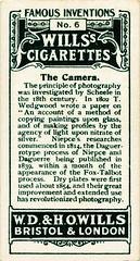 Wills' Cigarette Card - The Camera (back)