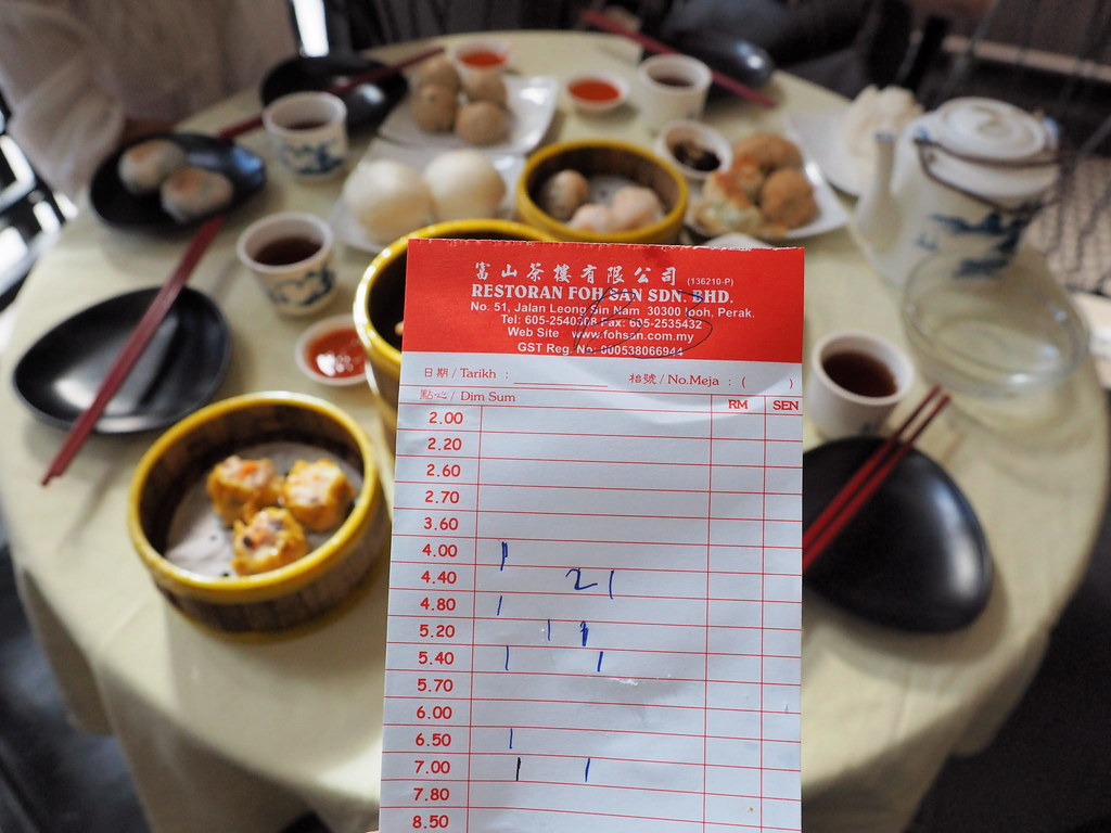 Order sheet of Foh San Dim Sum Restaurant, Ipoh