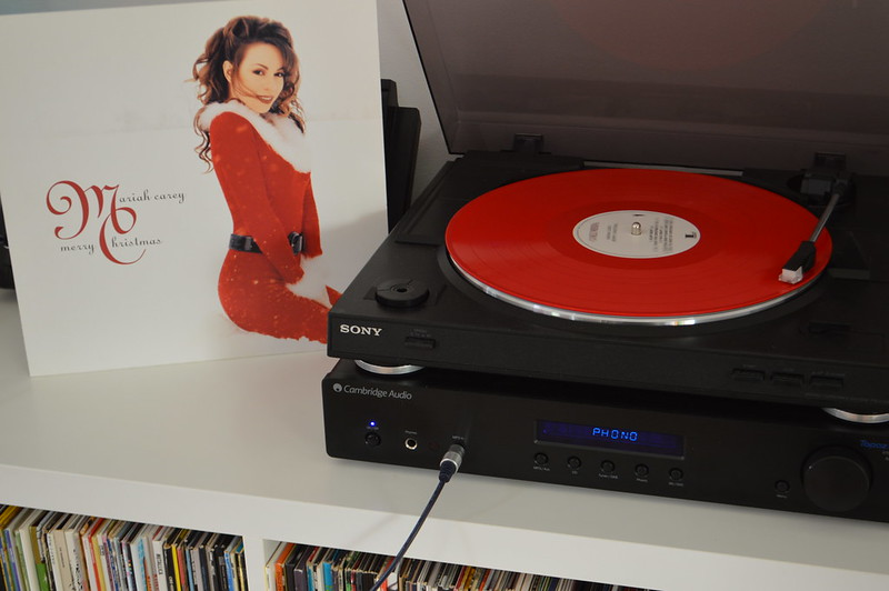 This is a picture of a Mariah Carey christmas record
