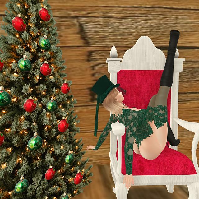 Sitting in Santa's seat