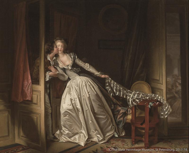 ジャン=オノレ・フラゴナールとマルグリット・ジェラール《盗まれた接吻》(1780年代末)エルミタージュ美術館所蔵