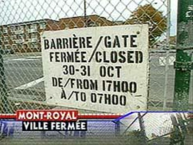 Hallowe'en at the Acadie fence