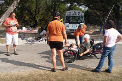 Kerrville weekend 019 Saturday trike discussions and test rides from Rebecca di Luce