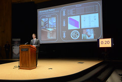 Wed, 2017-11-15 05:24 - Christopher Waite makes his presentation as a contestant in the OSU Graduate College Three Minute Thesis. Waite is a master's student in civil & environmental engineering.