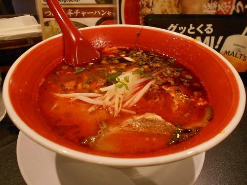 広島で食べたラーメン。辛さ5倍