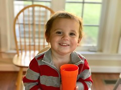 Sawyer smiles at lunch this week