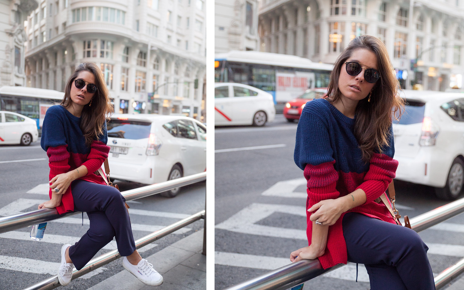 blue red look madrid fashion influencer blogger theguestgirl