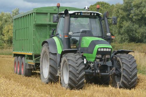 Deutz Fahr Agrotron TTV 620 Tractor with a Broughan Engineering Grain Trailer