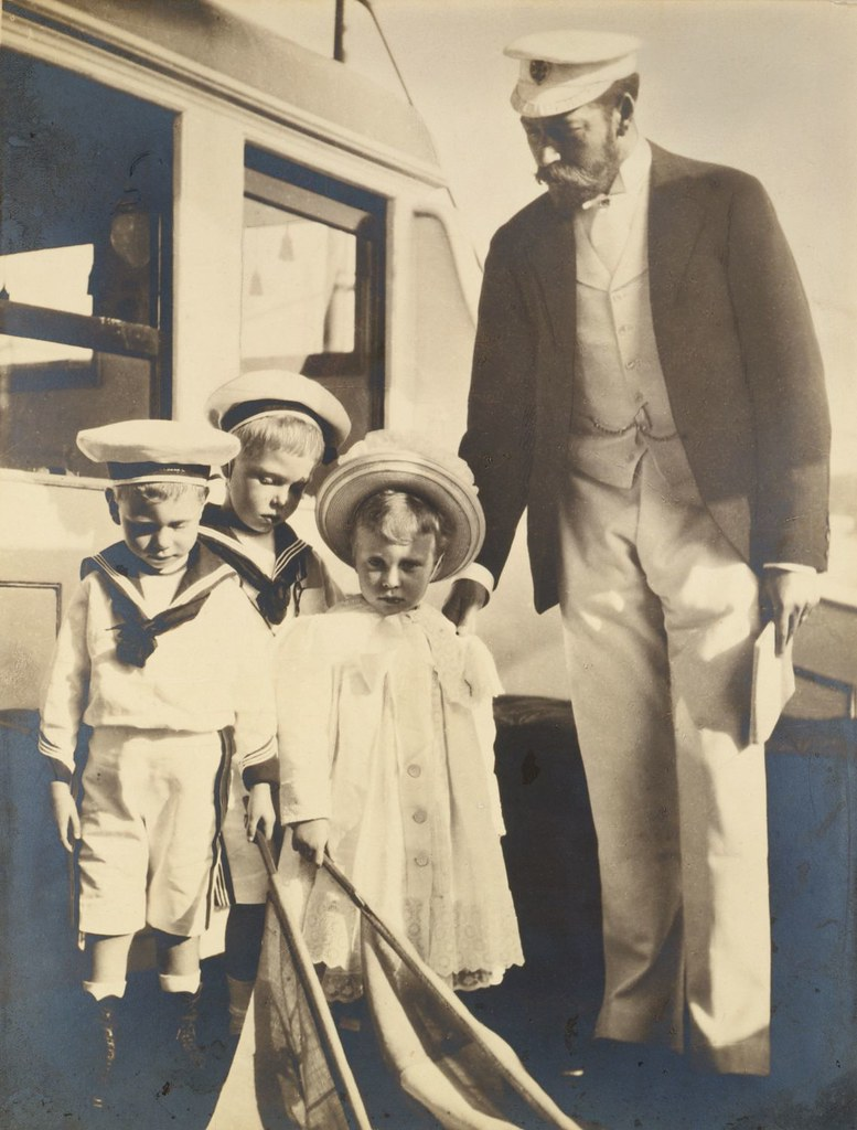 Edward (second from left) with his father --Gworge, Duke of York -- and younger siblings (Albert and Mary), photograph by his grandmother Alexandra, 1899.