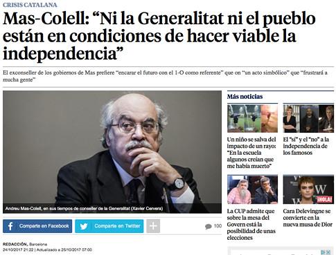 17j25 LV Mas-Colell Ni la Generalitat ni el pueblo están en condiciones de hacer viable la independencia Uti 485