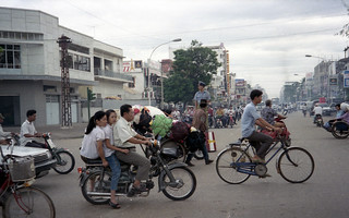 The morning rush hour in Phnom Penh at its peak was very chaotic.