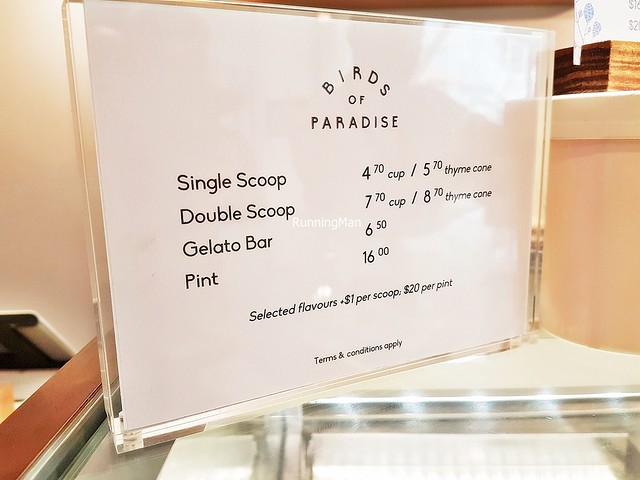 Birds Of Paradise Gelato Boutique Price List