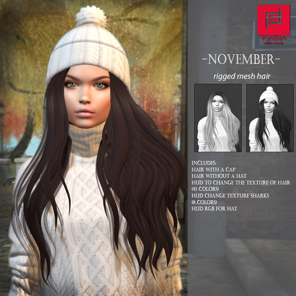 -FABIA- Mesh Hair   <November> - TeleportHub.com Live!