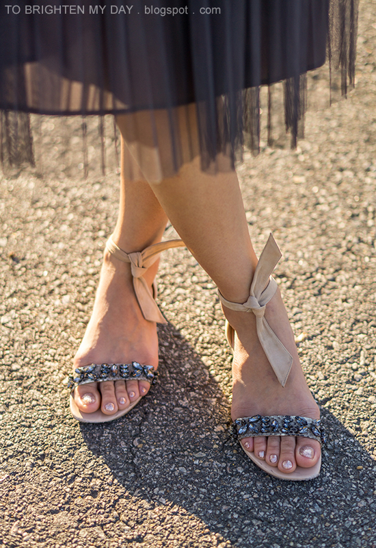 gray midi tulle skirt, suede ankle tie flats with jewels, glitter nail polish