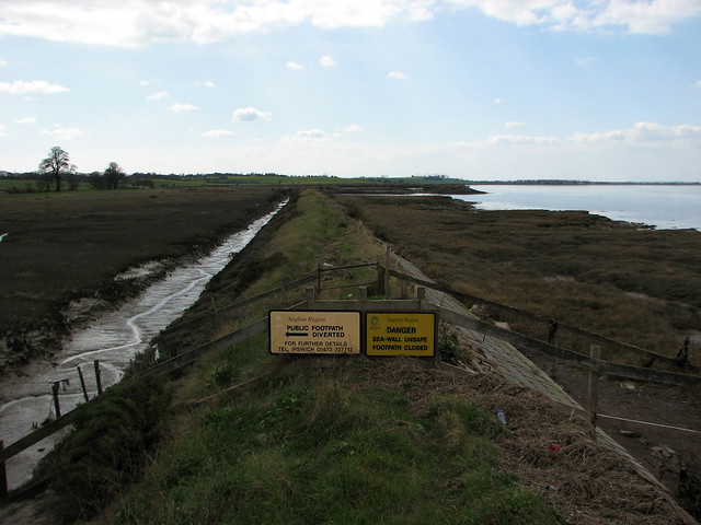 Former sea wall west of Bradwell Waterside